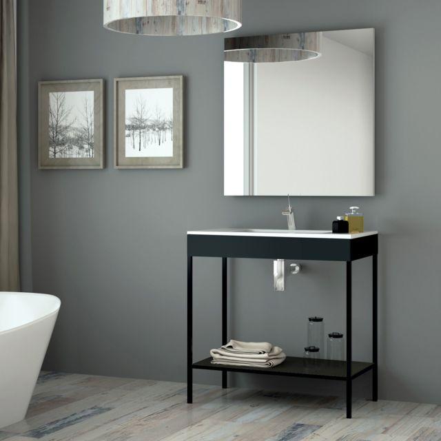 Aquae Line Meuble Salle De Bain Noir 80 Cm Vasque Céramique