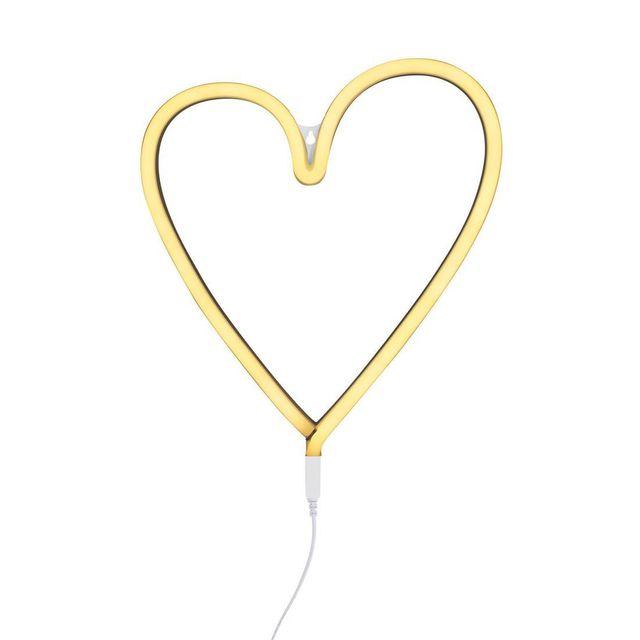 A Little Lovely Company - Neon Coeur - Applique Led Coeur Jaune H30cm - Applique designé par