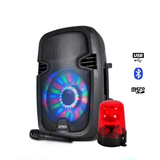 Party Sound Enceinte batterie 300W à Leds Usb/BLUETOOTH/FM/SD + Micro + Gyrophare