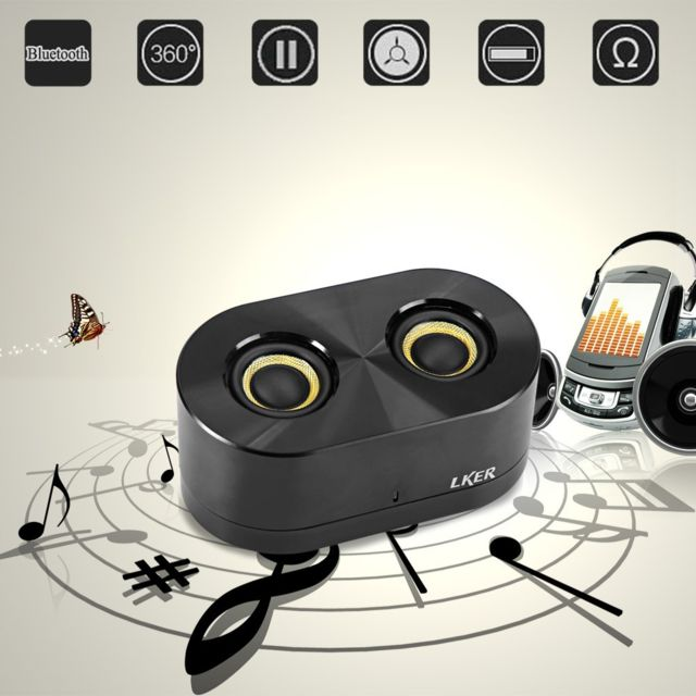 Auto-hightech Enceinte Bluetooth 4.0 Haut-parleur avec Double Cor / 360 Degrés Surround Son