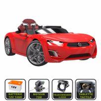 Cristom - Voiture électrique de luxe 12V pour enfant Henes Broon F830 tablette tactile, télécommande Bluetooth rouge