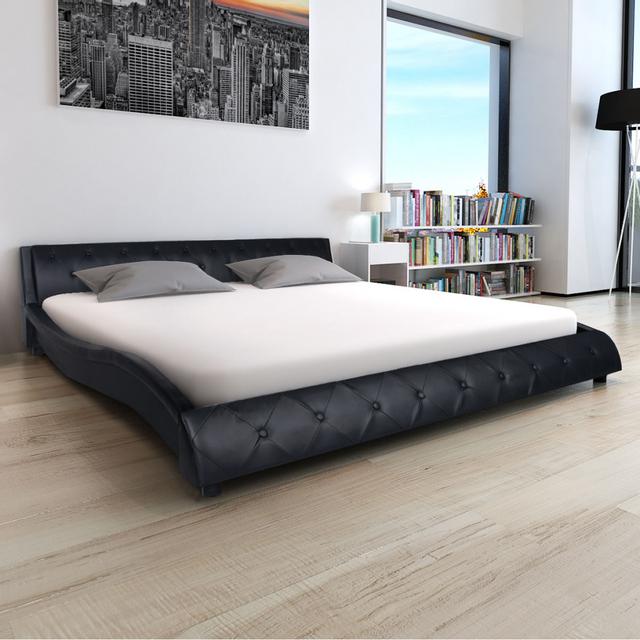 vidaxl lit et matelas mousse m moire 140x200 cm cuir artificiel noir pas cher achat. Black Bedroom Furniture Sets. Home Design Ideas