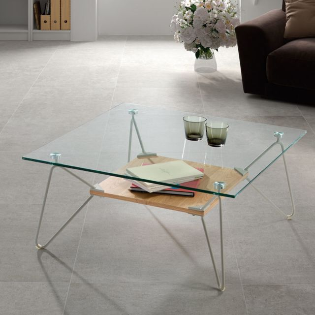 Nouvomeuble Table basse design en verre et métal gris Rosalie
