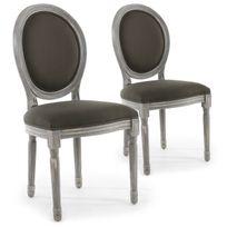 MENZZO - Lot de 2 chaises de style médaillon Louis XVI Bois gris patiné & tissu gris