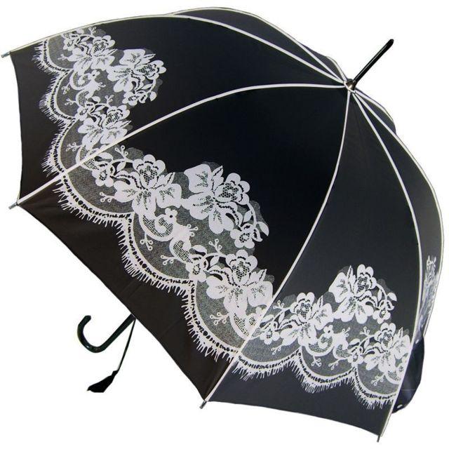 Blanc Automatique Parapluie Vintage Motif Dentelle