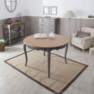 Mathilde et pauline table manger rallonge ronde en bois l120cm avec plateau en bois massif for Carrefour table a manger