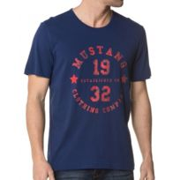 Mustang - Tee-Shirt Navy Flocage Délavé Homme