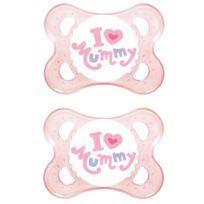 """Mam - Lot De 2 Sucettes En Silicone Inscription """"I Love Mummy"""