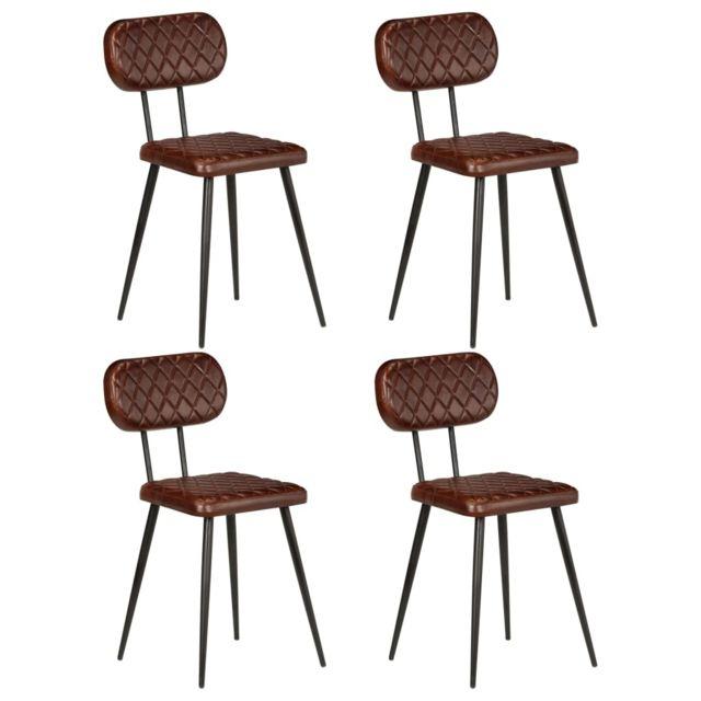 Cuir 4 à salle véritable Chaise de Fauteuils Marron pcs Superbe manger selection Kaboul EWHD2Y9I