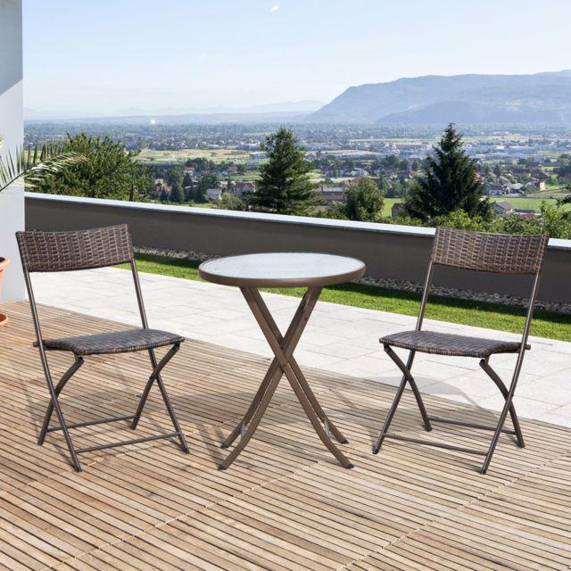 OUTSUNNY - Ensemble salon de jardin 2 places table ronde ...