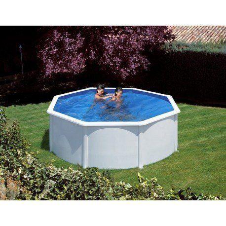 gre pools kit piscine hors sol azores ronde en acier couleur blanche 3 50 x 1 32 m pas. Black Bedroom Furniture Sets. Home Design Ideas