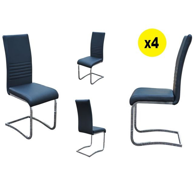 Import&DIFFUSION Lot de 4 Chaises Simili Noir Penny