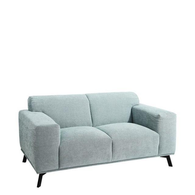 Ma Maison Mes Tendances Canapé 2 places en tissu turquoise Shirley - L 171 x l 93 x H 82