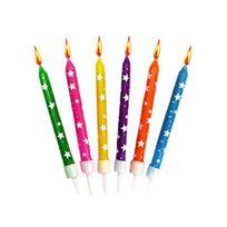 Creative - Bougies anniversaire multicolores avec étoiles blanches x12