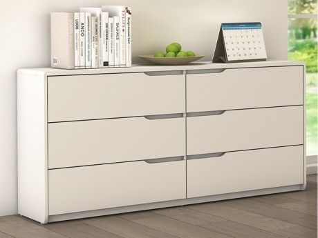 Vente-unique Commode Lucile - 6 tiroirs - Mdf blanc