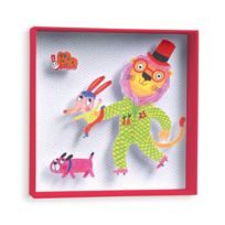 Little Big Room - Tableau relief en carton lion rigolo animaux rouge/blanc 21x21x4cm Achille&ULYSSE