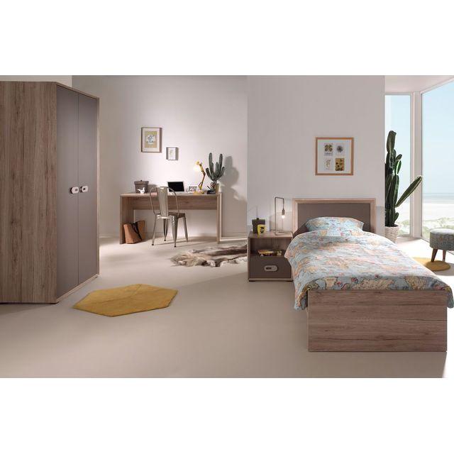 Comforium Ensemble complet 4 pièces pour chambre moderne avec lit 90x200 cm chevet, armoire 2 portes et bureau coloris chêne marro