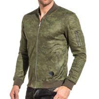 Project X - Veste zippée homme camouflage kaki poche bombers