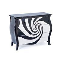 Comforium - Commode design 95 cm avec 3 tiroirs coloris noir et blanc en spiral