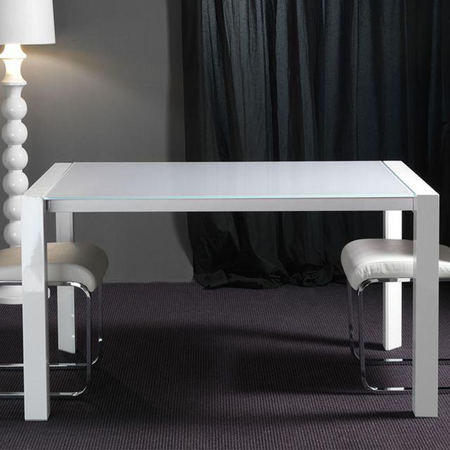 Nouvomeuble Table en verre et en acier blanche extensible design Alonso