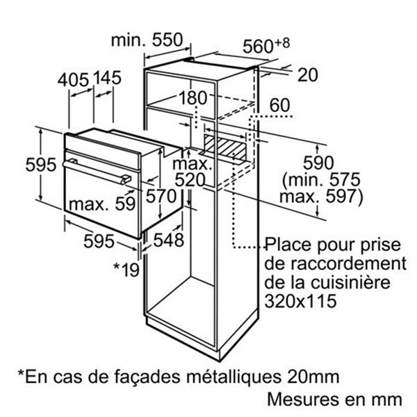 Bosch - four intégrable 67l 60cm a catalyse inox/noir - hbn532e0f