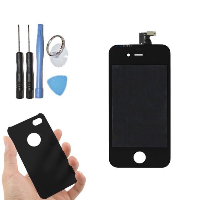 Visiodirect - Vitre tactile ecran Lcd sur chassis pour iPhone 4 noir + coque housse de protection