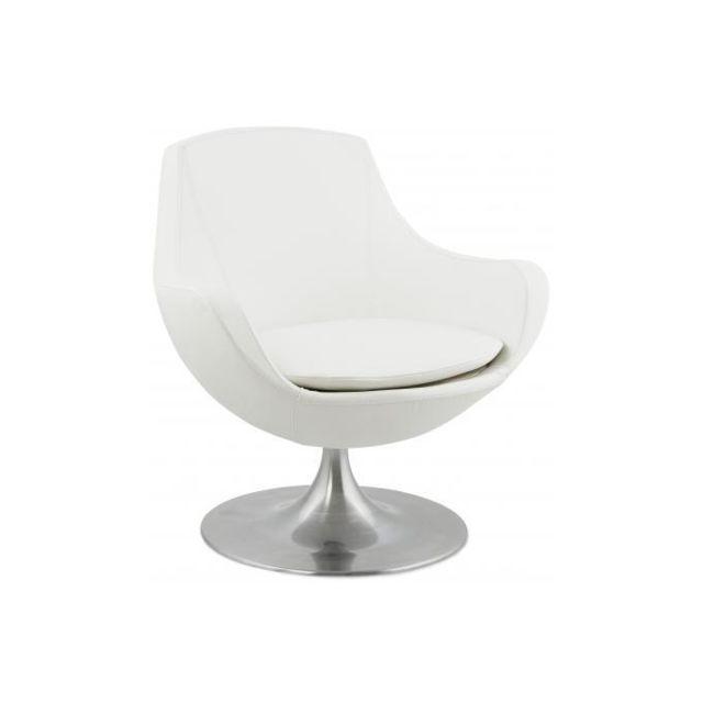 Declikdeco Pour agencez au mieux votre intérieur, optez pour ce fauteuil imitation cuir blanc Basic! Ce modèle se démarque par son