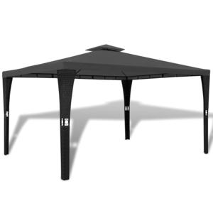 Rocambolesk - Superbe Tonnelle en polyrotin avec toit gris foncé 3 x 4 m Neuf