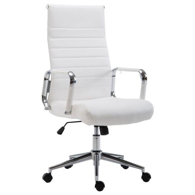Fauteuil de bureau en similicuir blanc avec assise rembourrée pivotant Bur10240