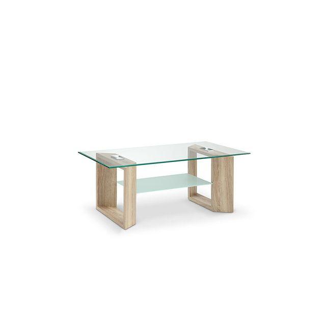 Table basse double plateau en verre décor chêne