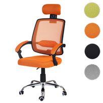 Mendler - Fauteuil de bureau Arendal, chaise rotative, appui-tête, accoudoirs, tissu ~ orange