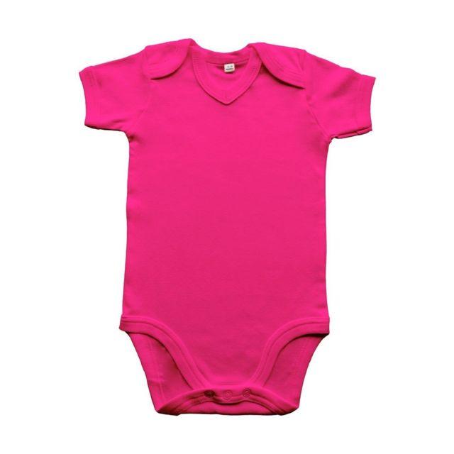 Babybugz - body bébé col V jambes manches courtes - Bz29 - rose fuchsia af40b9178ac