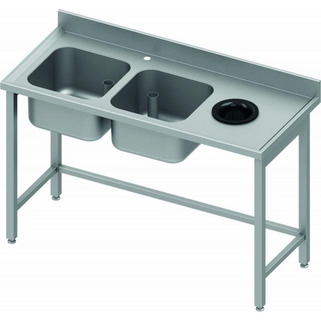 Materiel Chr Pro Table Inox de Chef - 2 Bacs à Gauche et Vide Ordure - 800 mm - Stalgast - inox 1400x800 800