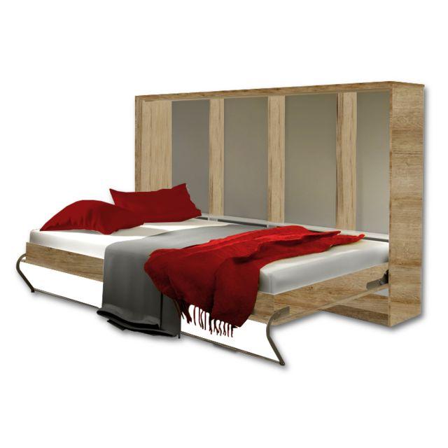 marque generique lit escamotable horizontal 90 x 200 chene nebraska 90cm x 200cm pas cher. Black Bedroom Furniture Sets. Home Design Ideas