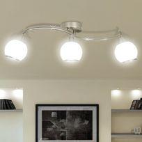 Vimeu-Outillage - Plafonnier avec abat-jour en verre et 3 ampoules E14