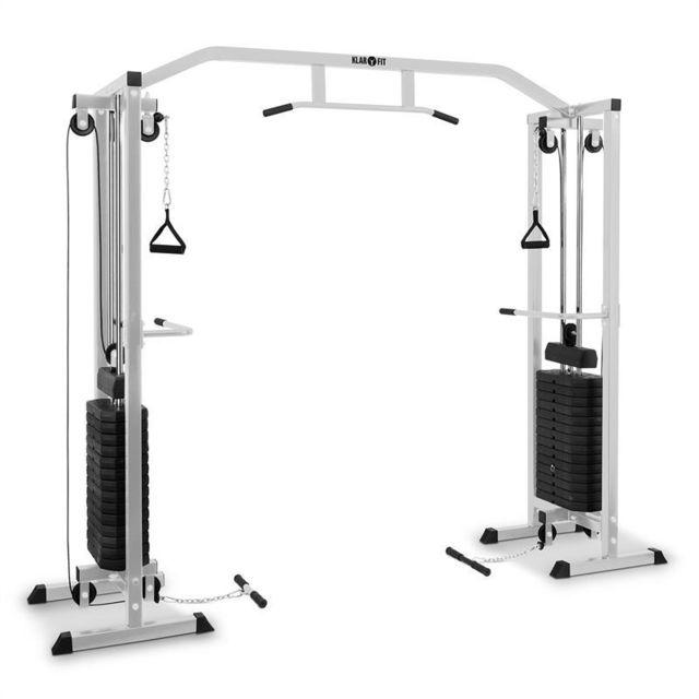 KLARFIT - Cablefit Appareil de musculation tire-câbles acier 2x 170 lb -argent