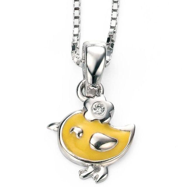 vente chaude beaucoup de choix de nouveaux produits chauds So Chic Bijoux © Collier Enfant Chaîne 35 cm Pendentif Petit Oiseau Email  Jaune Diamant Argent 925