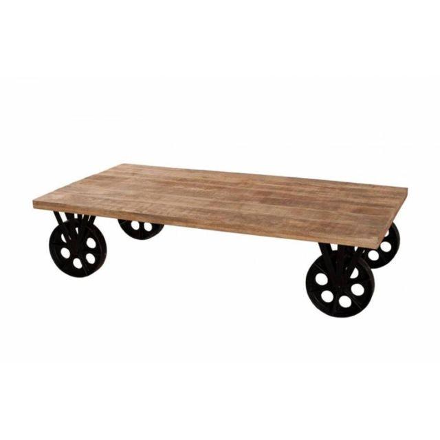 Inside 75 Table basse industrielle grosses roues Raphael en bois de manguier