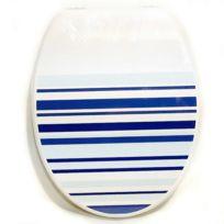 Galedo - Abattant Wc en Mdf Ambiance bleu charnières métal