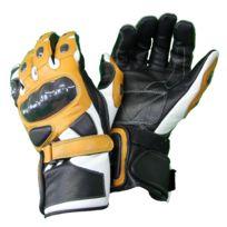 Karno-motorsport - Kc409 Gants moto cuir Racing noir-marron/jaune avec protection carbone
