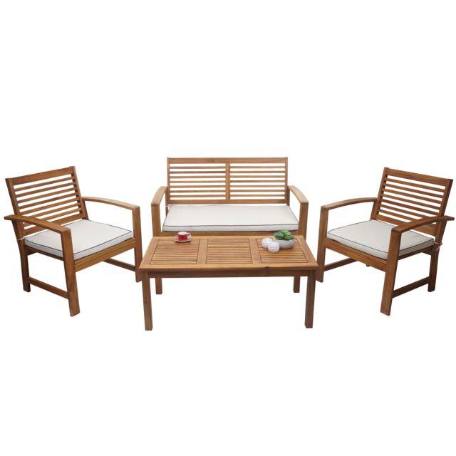 Mendler Garniture de jardin Hwc-e99, ensemble canapé fauteuil, set de balcon, bois massif d'acacia, coussin crème