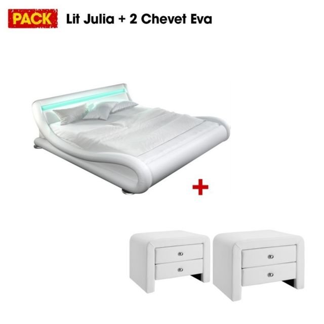 MEUBLER DESIGN Lit design Julia 140 avec 2 tables de chevet blanc