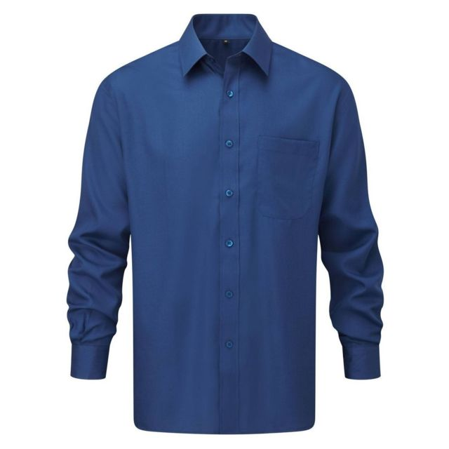 Fashion Cuir Chemise popeline poche poitrine Taille Homme - S, Couleur - bleu
