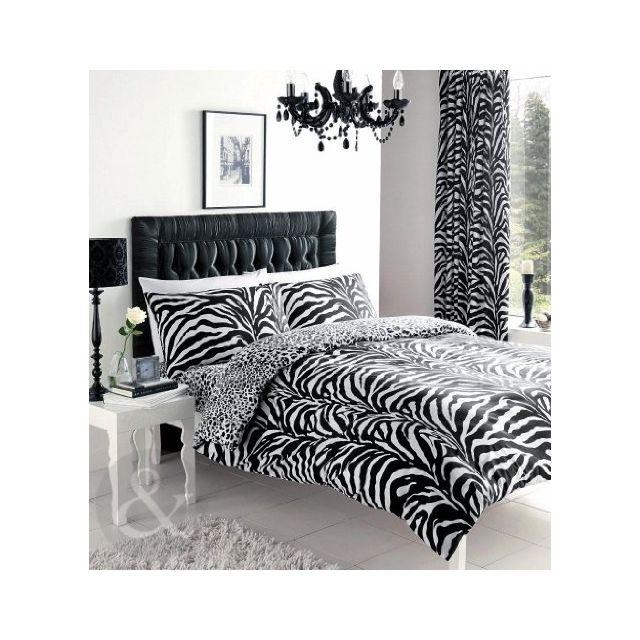 just contempo parure de lit imprim z bre coton m lang noir blanc poly coton housse de. Black Bedroom Furniture Sets. Home Design Ideas