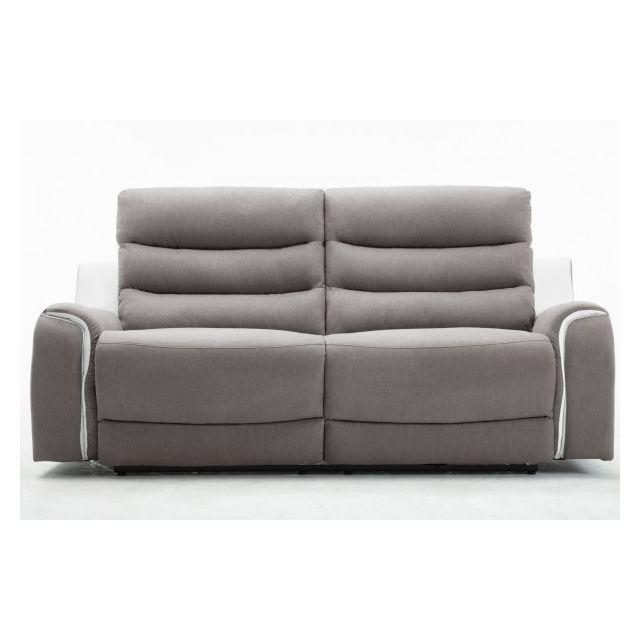 Moloo Faro-canapé 3 places tissu gris et Pu blanc 2 Relax électriques