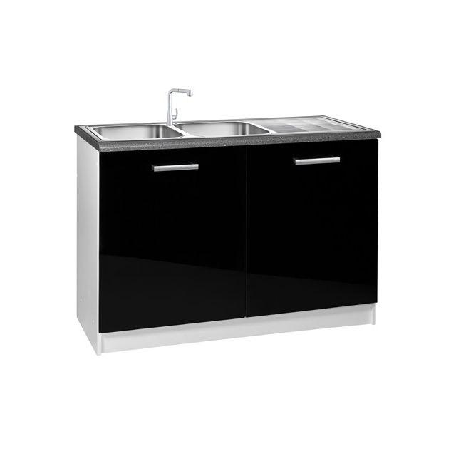 meublesline meuble de cuisine bas sous evier 120 cm 2 portes tara laqu brillant