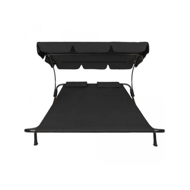Helloshop26 - Bain de soleil chaise longue transat 2 places avec pare-soleil 2 places noir 2208008