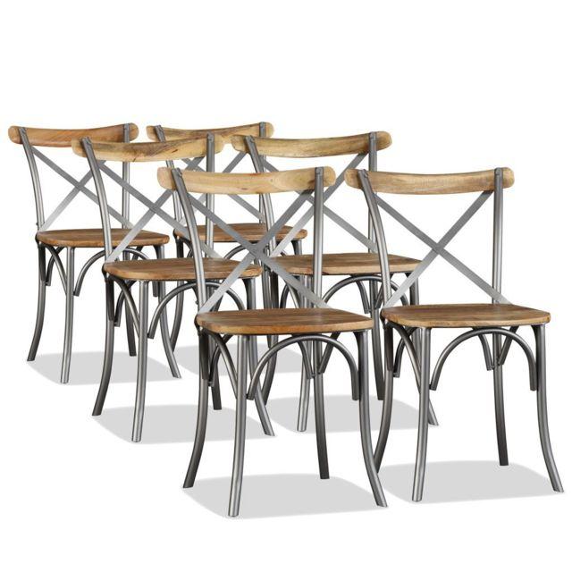 Bois de 6 manguier salle de manger Vidaxl Chaise à pcs eCxrdBoW