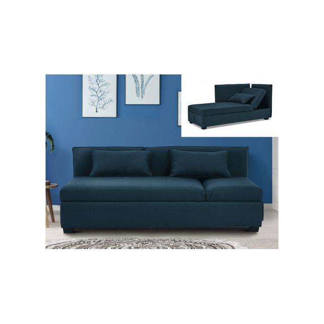 Canapé 3 places en tissu Mosina - Bleu