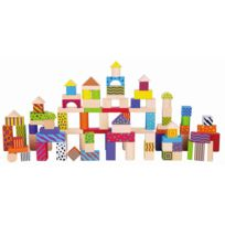 Milly Mally - Jeu de construction blocs en bois figures géométriques enfant bébé 2ans+ 100 pièces | Multicolore